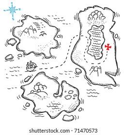 Sketchy illustration of a treasure map