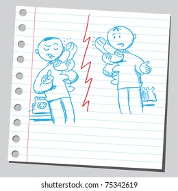 Sketchy illustration of a two men speaking on a phone