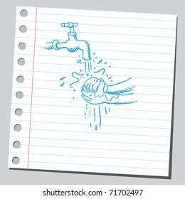 Sketchy illustration of a washing hands scene