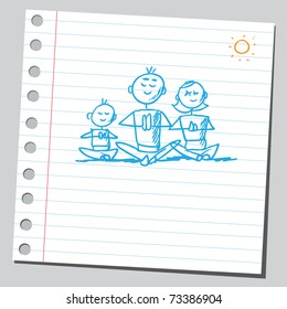 Sketchy illustration of a yoga family