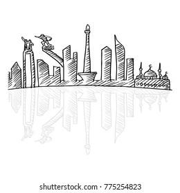 Sketchy of Jakarta skyline.