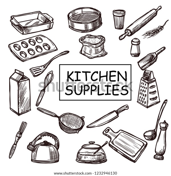 Sketchy Kitchen Supplies Stock Vector Royalty Free 1232946130