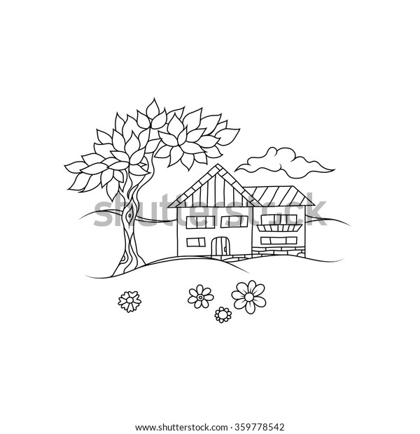 Sketchy Line Art Drawing Cottage House Stock Vector (Royalty Free