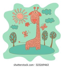 Sketchy little pink giraffe in cartoon style in a meadow with butterflies, clouds and sun.