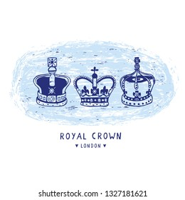 Sketchy London Royal Crown clipart elements set. Famous historical british symbol for travel vacation motif, british uk sightseeing icon. Vignette of queen princess head coronet in blue white.