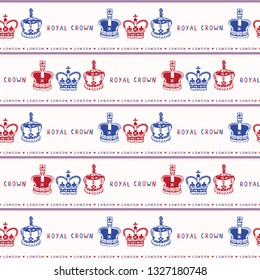 Sketchy London Royal Crown seamless vector pattern. Famous historical british symbol for travel vacation wallpaper, british uk sightseeing all over print. Hand drawn queen coronation coronet red blue.