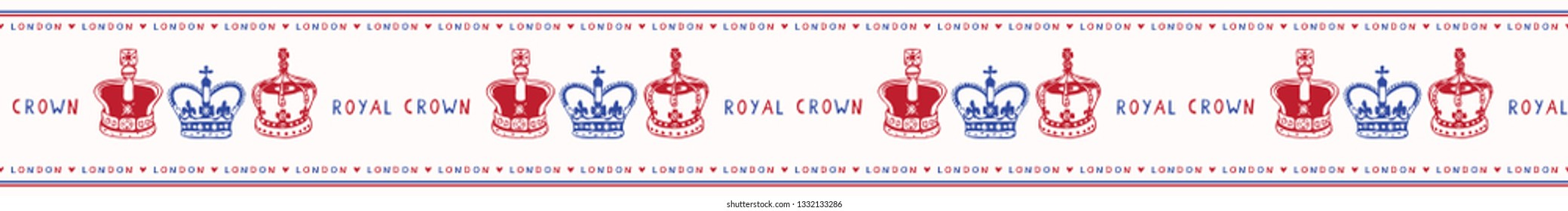Sketchy London Royal Crown seamless vector border pattern. Famous historical british symbol. Ttravel vacation. Iconic British uk sightseeing ribbon trim. Hand drawn queen coronation coronet red blue.