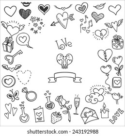 Sketchy Love And Hearts Doodles Vector Illustration