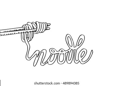 Sketchy noodle on chopsticks with text Noodle.