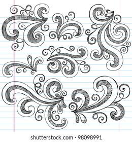 Sketchy Notebook Doodle Swirls - Hand-Drawn Design Elements Vector Illustration on Lined Sketchbook Paper Background