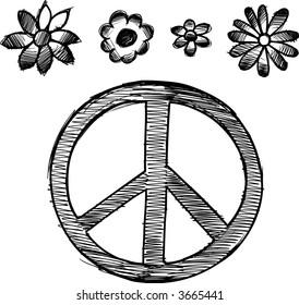sketchy peace symbol set vector 260nw