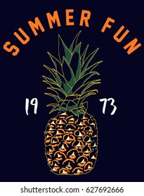 Sketchy Pine Apple with Slogan.Hand drawn Pine Apple. Summer Graphic. Pine Apple. Lettering ' Summer Fun ' Vector Illustration. Apparel Print. T shirt Print