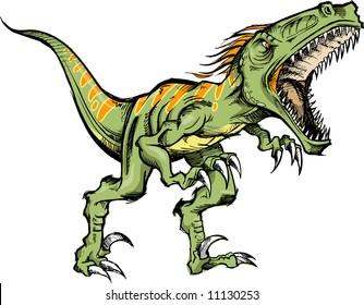 Sketchy Raptor dinosaur Vector Illustration