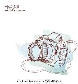 Sketchy rough vector camera with watercolor background