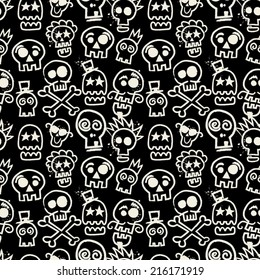 Sketchy Skull Seamless Repeat Wallpaper in Black