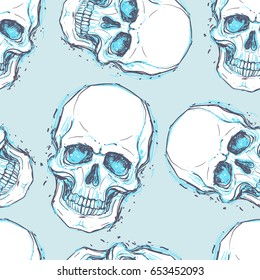 Sketchy style drawing of human skull, human head, seamless pattern. Tattoo design element. Vector illustration. Religion, death, occultism, calavera symbol, alchemy magic.