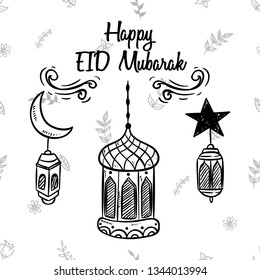 Sketchy style of EID Mubarak Lantern illustration with Ornament on white floral background