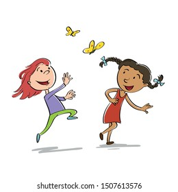 Sketchy style vector illustration of two girls having fun by chasing butterflies