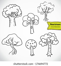 Sketchy tree set isolated, vector illustration hand drawn