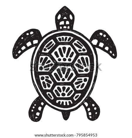 sketchy tribal drawing sea turtle black stock vector royalty free