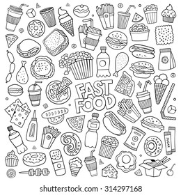 Sketchy vector hand drawn Doodle cartoon set of objects and symbols on the fast food theme
