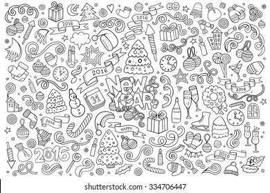 Sketchy vector hand drawn Doodle cartoon set of objects and symbols on the New Year theme