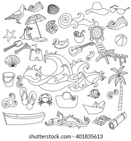 Sketchy vector hand drawn Doodle cartoon set of objects and symbols on the Summer beach.