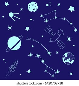 Sketchy vector hand drawn doodles cartoon set of Space objects and symbols