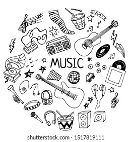 Sketchy vector hand drawn doodles cartoon set of Music objects and symbols. Perfect illustration for music festival or for coloring book