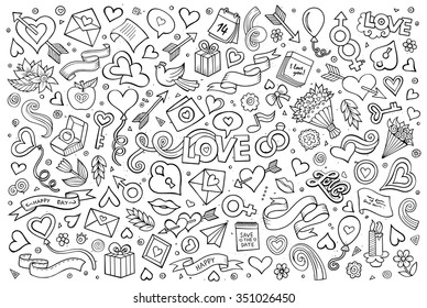 Sketchy vector hand drawn doodles cartoon set of Love and Valentine's Day objects and symbols