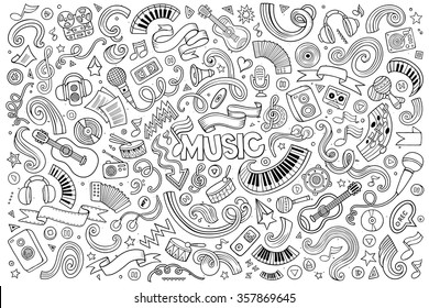 Sketchy vector hand drawn doodles cartoon set of Music objects and symbols
