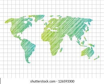 Sketchy World map - vector illustration
