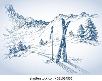 Ski background, mountains in winter season