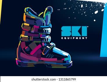 Ski boots. Paint stroke style