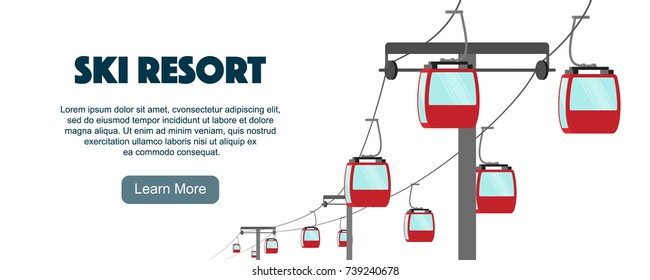 Ski cable car isolated on white, flat vector illustration. Aerial ropeway, red cabins front view. Graphic design elements for ski resort flyers, banners, promotions.