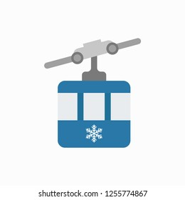 Ski cable lift icon for ski and winter sports. Funicular. Vector illustration. EPS 10.