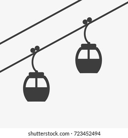 Ski cable lift icon for ski and winter sports. Design for tourist catalog, maps of the ski slopes, placard, brochure, flyer, booklet. Vector illustration.