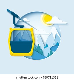 Ski cableway paper cut banner. Winter mountain paper landscape background with ski lift cabine. Vector poster for skiing resort
