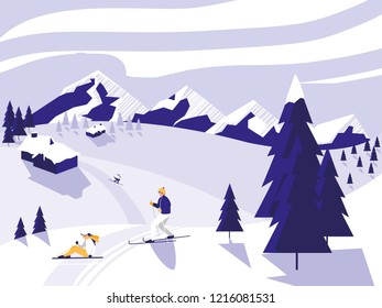 ski camp snowscape scene