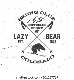 Ski club concept. For badge, patch, shirt, print, seal or stamp. Bear, mountain and helmet. Ski club typography design. Vector illustration.