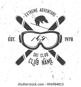 Ski club concept. Vector ski club retro badge. Concept for shirt, print, seal or stamp. Skis, mountain, bear and goggles. Typography design- stock vector. Family vacation, activity or travel.