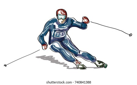 Ski concept with sketched skier - vector