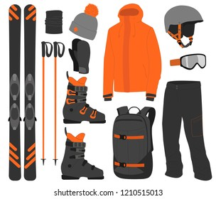 Ski equipment kit clothes vector illustration on white background. Extreme winter sport. Set skis and ski poles. vacation, activity or travel equipment sport mountain cold recreation.