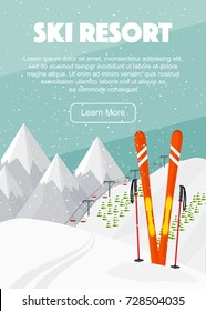 Ski equipment, lift, trail, Alps, fir trees, falling snow, mountains panoramic background, flat vector illustration. Ski resort season is open. Winter web banner design.
