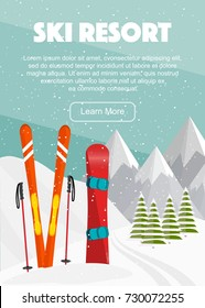 Ski equipment, snowboard, trail, Alps, fir trees, falling snow, mountains panoramic background, flat vector illustration. Ski resort season is open. Winter web banner design.
