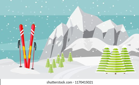 Ski equipment, trail, Alps, fir trees, falling snow, mountains panoramic background, flat vector illustration. Ski resort season is open. Winter web banner design.