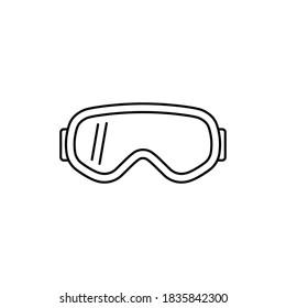 Ski goggles icon. Line style. Vector illustration.