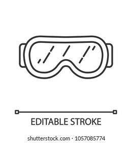 Ski goggles linear icon. Thin line illustration. Snow glasses. Safety eyeglasses. Contour symbol. Vector isolated outline drawing. Editable stroke