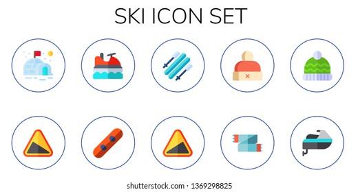 ski icon set. 10 flat ski icons.  Simple modern icons about  - igloo, slope, jet ski, snowboard, skii, winter hat, scarf