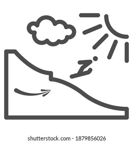 Ski jump from the springboard line icon, Winter sport concept, Ski jumping silhouette sign on white background, Springboard jumper icon in outline style for mobile and web. Vector graphics.